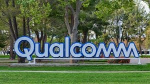 Qualcomm sign near Qualcomm Research Silicon Valley office of San Diego based chip and semiconductor company representing 5g stocks