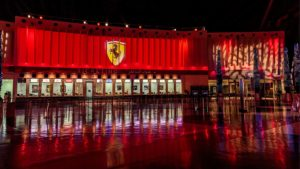Ferrari logo on a red banner