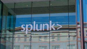 Splunk logo on the company office in Santana Row. The company produces software for searching, monitoring, and analyzing machine-generated big data