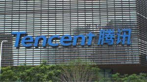 Tencent (TCEHY) sign on Tencent headquarters in Shenzhen, China.