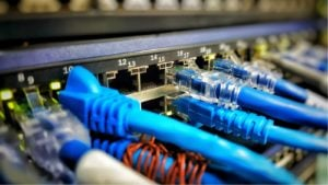 Image of Fiber optical connections with servers