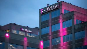 tmobile (TMUS) logo on an office building facade