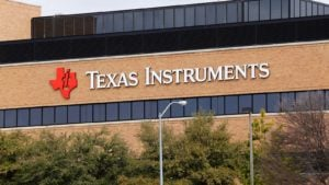 Texas Instruments (TXN) logo on its world headquarters located in Dallas, Texas.