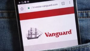 vanguard website displayed on a mobile phone screen representing vanguard etfs
