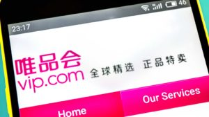 Vipshop Holdings (VIPS) website displayed on a smartphone screen.