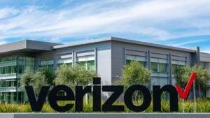 Verizon (VZ) sign outside of office building