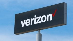 Verizon (VZ) Wireless sign and trademark logo.