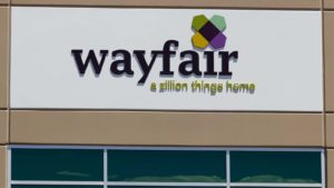 Wayfair (W) sign on Wayfair office in Las Vegas, Nevada.