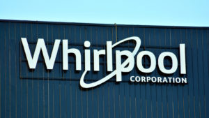 the Whirlpool (WHR) logo on a corporate building