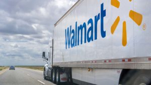 A photo of the Walmart (WMT) logo on the side of a truck.