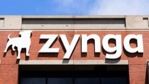 A Zynga (ZNGA) sign hangs above the company headquarters in San Francisco, California.