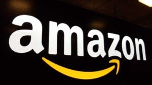 amazon (AMZN) sign with dark background