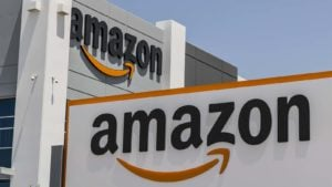 Streaming Stocks to Buy: Two Amazon (ticker: AMZN) marquees displayed on adjacent buildings