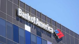Bank of America (BAC) logo on top of a retail office building.