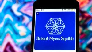 Bristol-Myers Squib (BMY) logo displayed on a phone screen