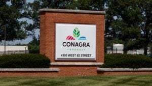 Conagra (CAG) logo on a sign outside of a corporate campus