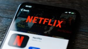Streaming Stocks to Buy: Netflix (ticker: NFLX) displayed in Apple iPhone AppStore