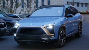 Nio (NIO) electric vehicle model in a soft blue color