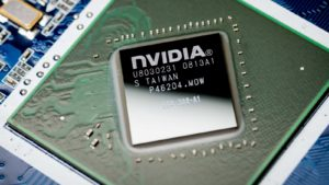 Nvidia (NVDA) logo on a microchip