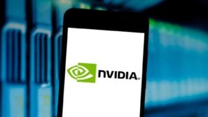 Nvidia (NVDA) logo displayed on phone screen