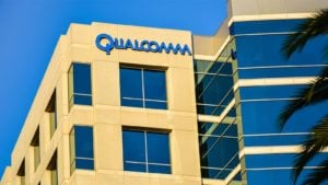 Qualcomm (QCOM) logo on the side of a building in San Jose, CA.