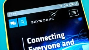 the Skyworks (SWKS) website is loading on a smartphone