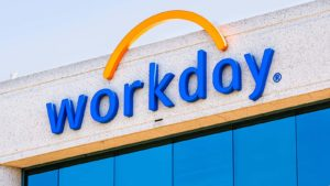 A close-up view of a Workday (WDAY) sign in Pleasanton, California.