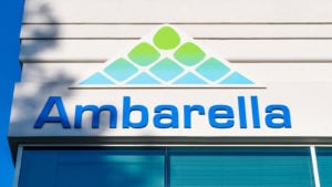 Ambarella (AMBA) logo on a corporate building