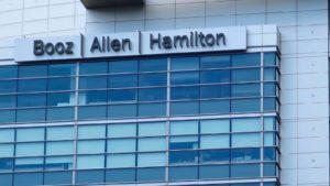 Booz Allen Hamilton (BAH) logo on a corporate building