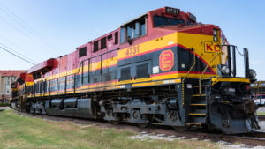 A Kansas City Southern de Mexico (KSU) train parked on the tracks in Forth Worth, Texas.