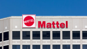Image of the Mattel (MAT) name and logo on a building.