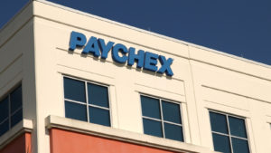 The Paychex sign on the side of the company's building in Mirimar, Florida.