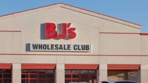 BJ Wholesale (BJ) storefront with red BJ logo on front
