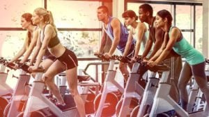 a fitness class working out (cheap stocks)