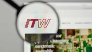 Illinois Tool Works (ITW) logo magnified while being displayed on a web browser