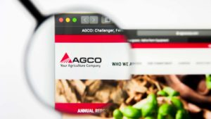 Illustrative Editorial of AGCO Corporation website homepage. AGCO Corporation logo visible on display screen.