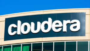 Cloudera (CLDR) logo on data software company headquarters in Silicon Valley