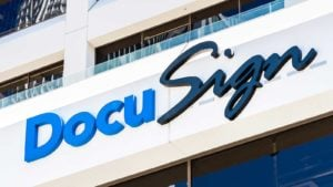 Docusign (DOCU) logo on building