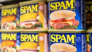 Grocery shelf of SPAM cans made by Hormel (HRL)