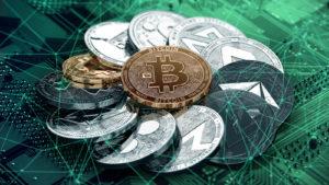 representasi digital dari bitcoin yang dikelilingi oleh beberapa altcoin lain yang membentuk bentuk melingkar