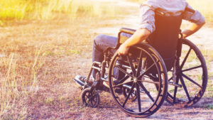 Image of person in a field sitting in a wheelchair