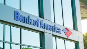 The logo of Bank of America (BAC) in modern office building in Beverly Hills, California