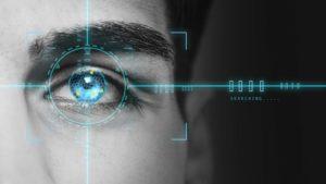 an artistic representation of a biometric scan of an eye