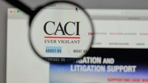 CACI International (CACI) website on a computer screen