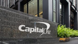 capital one (COF) logo outside of corporate building