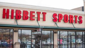 Image of a red Hibbett Sports (HIBB) sign above one of the chain's stores