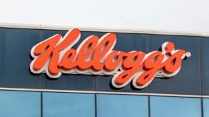 Kellog's (K) logo on a corporate building
