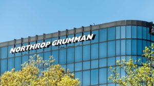Northrop Grumman (NOC) logo on a corporate building