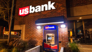 usbank (USB) logo on a bank during nighttime