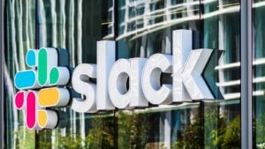 A Slack (WORK) sign on the company's headquarters in San Francisco, California.